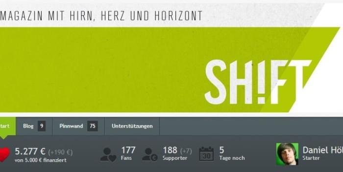 SHIFT hat via Startnext die 5.000€ Grenze geknackt.