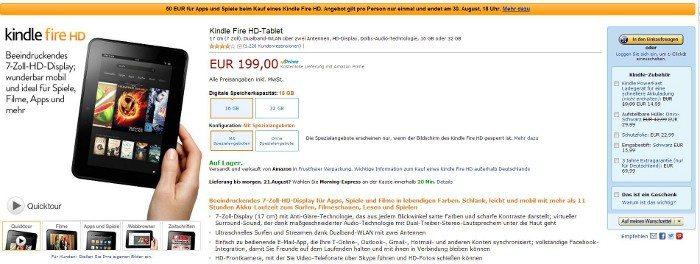 Kindle Fire HD mit 50€ Gutschein