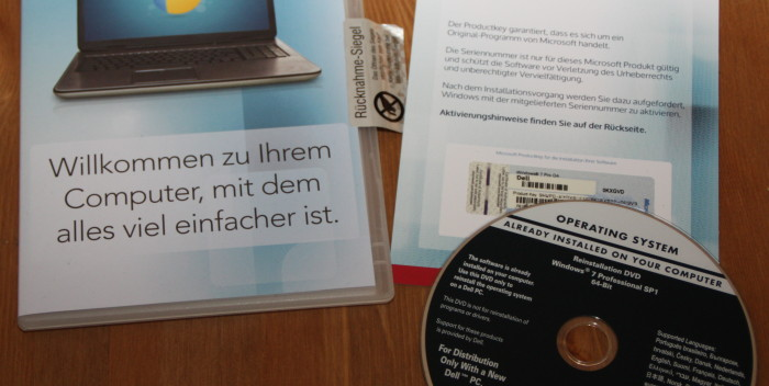 PCFritz Windows7 Lizenz DVD Dell