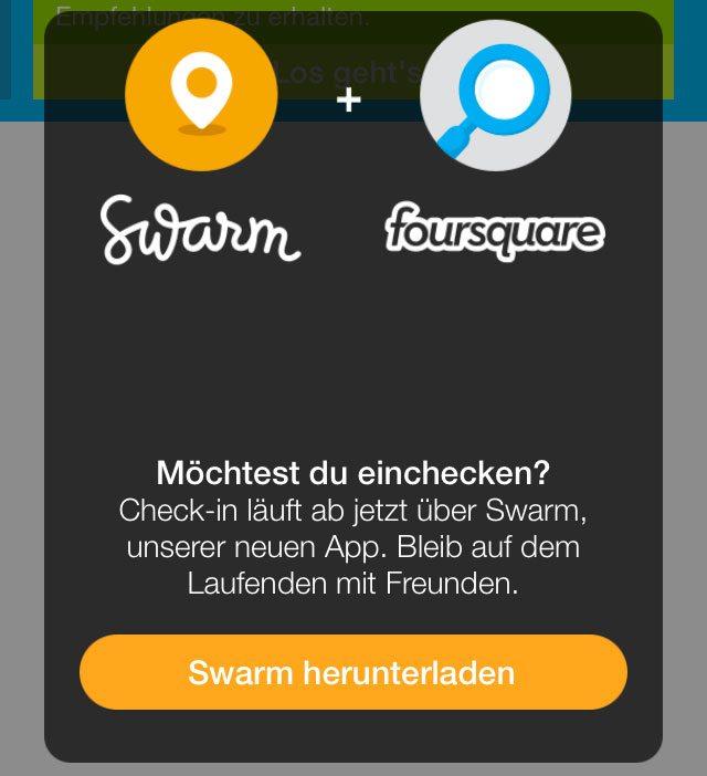 Foursquare Einchecken nur noch via Swarm möglich