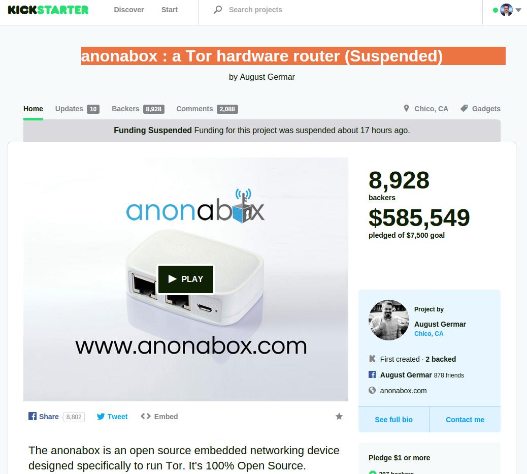 Anonabox Projekt auf Eis gelegt.