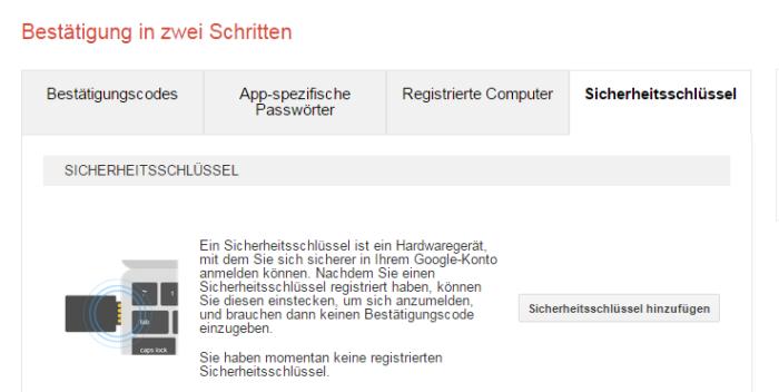 Google Zwei Faktor Authentifizierung mit Fido U2F