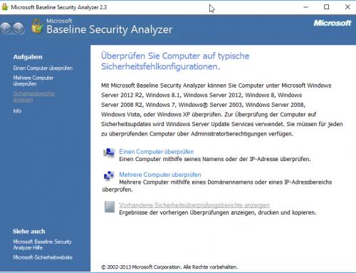 Alle Microsoft Produkte auf Sicherheitsupdates mit dem Baseline Security Analyzer überprüfen