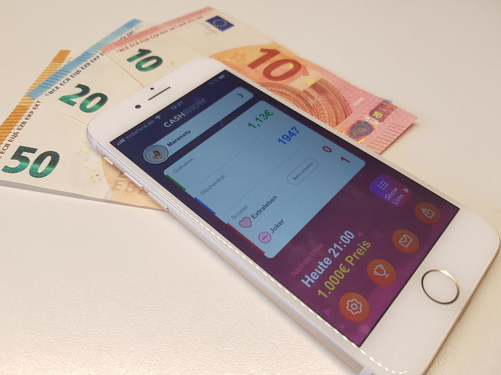 Cash Show: A Quizshow-App, which wants his users to get 2.000 Euro daily