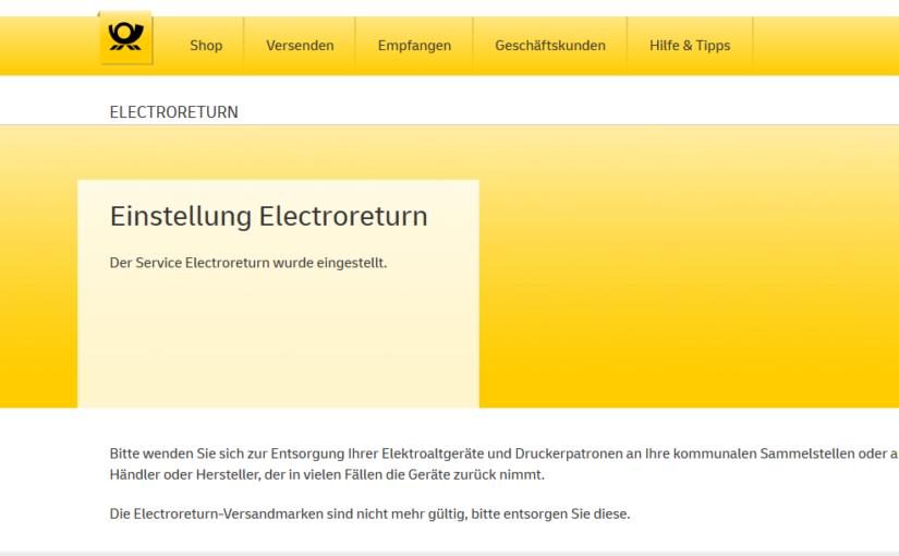 Electroreturn eingestellt